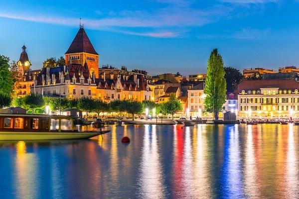 la ville de Lausanne vu de nuit
